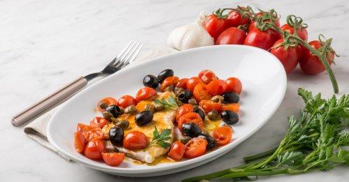 Roast cod, tomato & olives