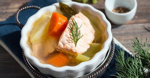 Salmon & barley soup