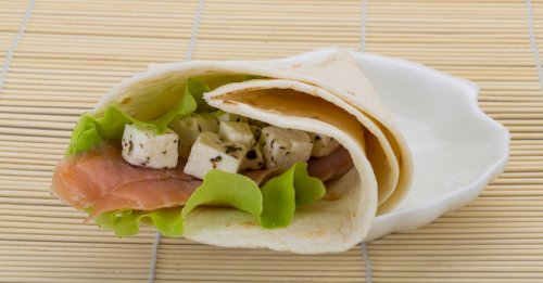 Salmon & marinated feta wrap